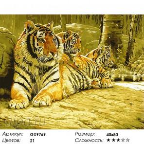 Количество цветов и сложность Дружное семейство Раскраска картина по номерам акриловыми красками на холсте