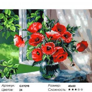 Маки у раскрытого окна  Раскраска картина по номерам на холсте