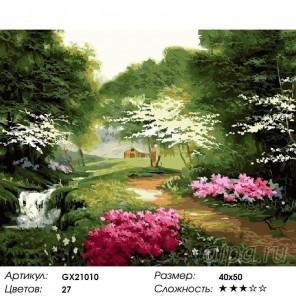 Количество цветов и сложность Цветущая тропинка Раскраска картина по номерам акриловыми красками на холст