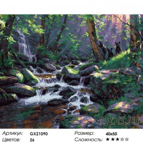 Медвежата у водопада Раскраска картина по номерам на холст
