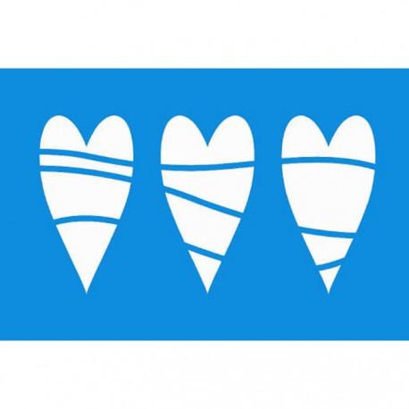 Три сердца Трафарет 10х15 см Marabu
