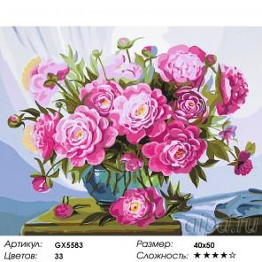 Количество цветов и сложность Розовые пионы Раскраска картина по номерам акриловыми красками на холсте