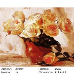 Количество цветов и сложность Розы в глиняной вазе Раскраска картина по номерам акриловыми красками на холсте