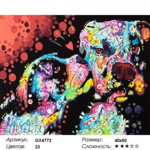 Количество цветов и сложность Разноцветные питбули Раскраска картина по номерам акриловыми красками на холсте