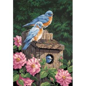 Синие птички в саду Раскраска картина по номерам Dimensions