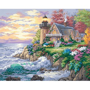 Дом у маяка на берегу Раскраска картина по номерам акриловыми красками Dimensions