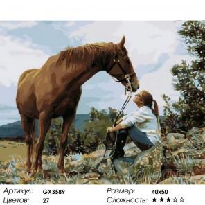 Любовь к лошадям Раскраска картина по номерам акриловыми красками на холсте