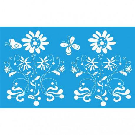 Цветы и бабочка Трафарет 40х66 см Marabu