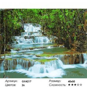 Каскадный водопад Раскраска картина по номерам на холсте