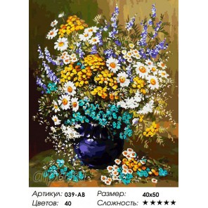 Букет полевых цветов Раскраска ( картина ) по номерам на холсте Белоснежка