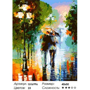 Двое под дождем (художник Леонид Афремов) Раскраска картина по номерам на холсте