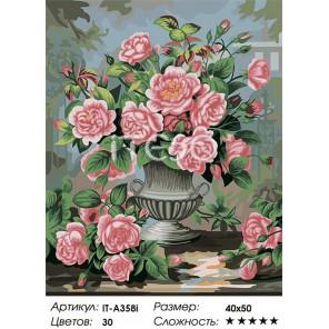 Сложность и количество цветов Розовые розы Раскраска по номерам ( Картина ) акриловыми красками на холсте Iteso
