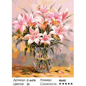 Розовые лилии Раскраска ( картина ) по номерам акриловыми красками на холсте Iteso