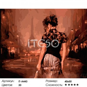 Количество цветов и сложность Вечер в Париже Раскраска ( картина ) по номерам акриловыми красками на холсте Iteso