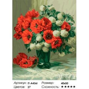 Красные маки ( художник Julien Stappers ) Раскраска ( картина ) по номерам акриловыми красками на холсте Iteso