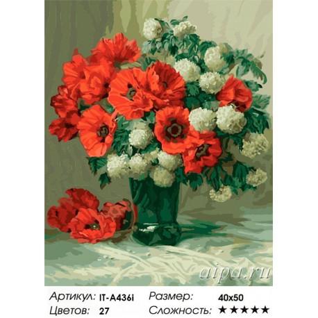 Количество красок и сложность Красные маки (художник Julien Stappers) Раскраска по номерам акриловыми красками на холсте Iteso