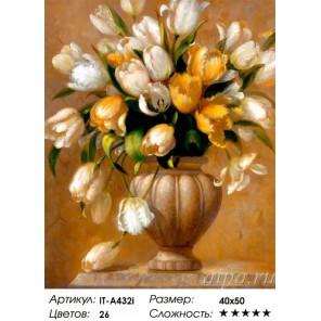 Золотистые тюльпаны ( художник Fran Di Giacomo) Раскраска ( картина ) по номерам акриловыми красками на холсте Iteso