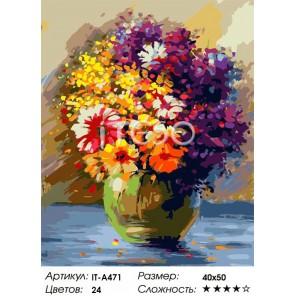 Количество цветов и сложность Яркий букет Раскраска картина по номерам акриловыми красками на холсте Iteso