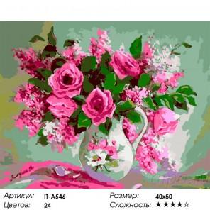 Количество цветов и сложность Букет роз и сирени Раскраска картина по номерам акриловыми красками на холсте Iteso