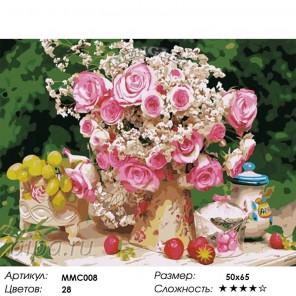 Количество цветов и сложность Нежный букет с розами 50х65см Раскраска по номерам акриловыми красками на холсте Menglei