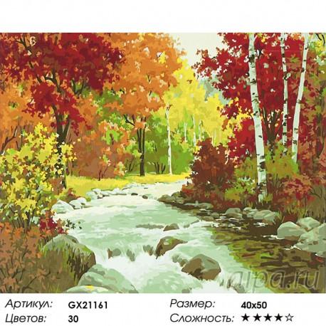 Количество цветов и сложность Осенняя река Раскраска картина по номерам акриловыми красками на холст
