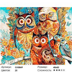 Совушки (художник Дэвид Галхат) Раскраска картина по номерам на холсте