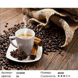 Кофе и специи Раскраска картина по номерам на холсте