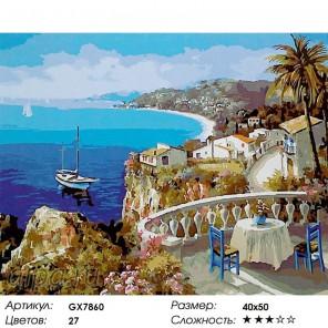 Количество цветов и сложность Балкон с видом на море Раскраска картина по номерам акриловыми красками на холсте