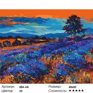 Лавандовые поля Раскраска ( картина ) по номерам на холсте Белоснежка