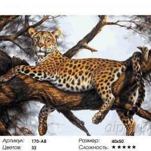 Леопард на отдыхе Раскраска картина по номерам на холсте Белоснежка
