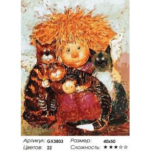 Солнечный ангел с котятами Раскраска картина по номерам акриловыми красками на холсте
