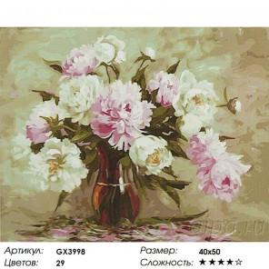 Количество цветов и сложность Нежные пионы Раскраска картина по номерам акриловыми красками на холсте