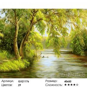 Ива над рекой Раскраска картина по номерам на холсте