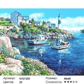 Два катера у маяка Раскраска картина по номерам на холсте