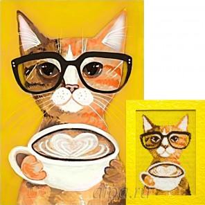 Кофе-котик Алмазная вышивка мозаика Гранни