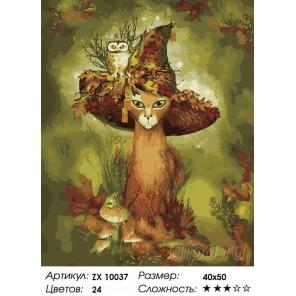 Кот в шляпе Раскраска картина по номерам на холсте