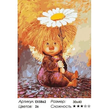 Количество цветов и сложность Домовенок с ромашкой Раскраска картина по номерам акриловыми красками на холсте