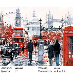 Лондон после дождя Раскраска картина по номерам на холсте