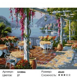 Количество цветов и сложность Кафе над морем Раскраска картина по номерам акриловыми красками на холсте
