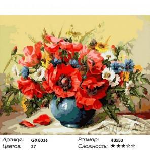 Маки с полевыми цветами Раскраска картина по номерам на холсте