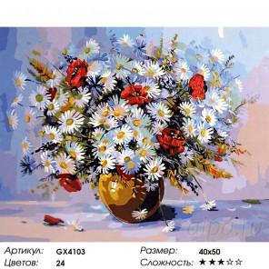 Количество цветов и сложность Летние цветы Раскраска картина по номерам акриловыми красками на холсте