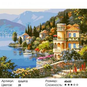 Солнечная Италия Раскраска картина по номерам на холсте