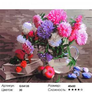 Количество цветов и сложность Астры в стеклянной вазе Раскраска картина по номерам акриловыми красками на холсте