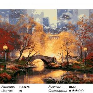 Количество цветов и сложность Центральный парк в золоте Раскраска картина по номерам акриловыми красками на холсте