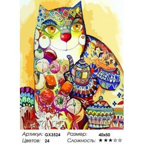 Количество цветов и сложность Чаепитие с котом Раскраска картина по номерам акриловыми красками на холсте