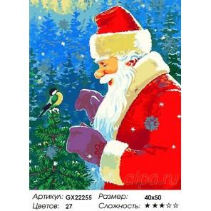 Дед Мороз и синичка Раскраска картина по номерам акриловыми красками на холсте