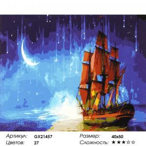 Количество цветов и сложность Бригантина на фоне звездного неба Раскраска картина по номерам акриловыми красками на холсте