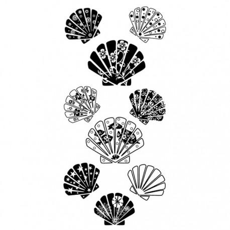 Ракушки узорчатые Штампы прозрачные Набор для скрапбукинга, кардмейкинга Inkadinkado