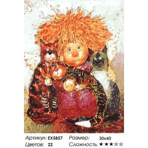 Количество цветов и сложность Домовенок с кошками Раскраска картина по номерам акриловыми красками на холсте