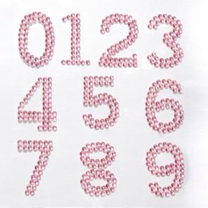 123456789 розовые цифры Набор самоклеющихся страз Glorex